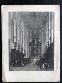 After David Roberts C1860 Art Journal. The Church of St. Paul, Antwerp, Belgium